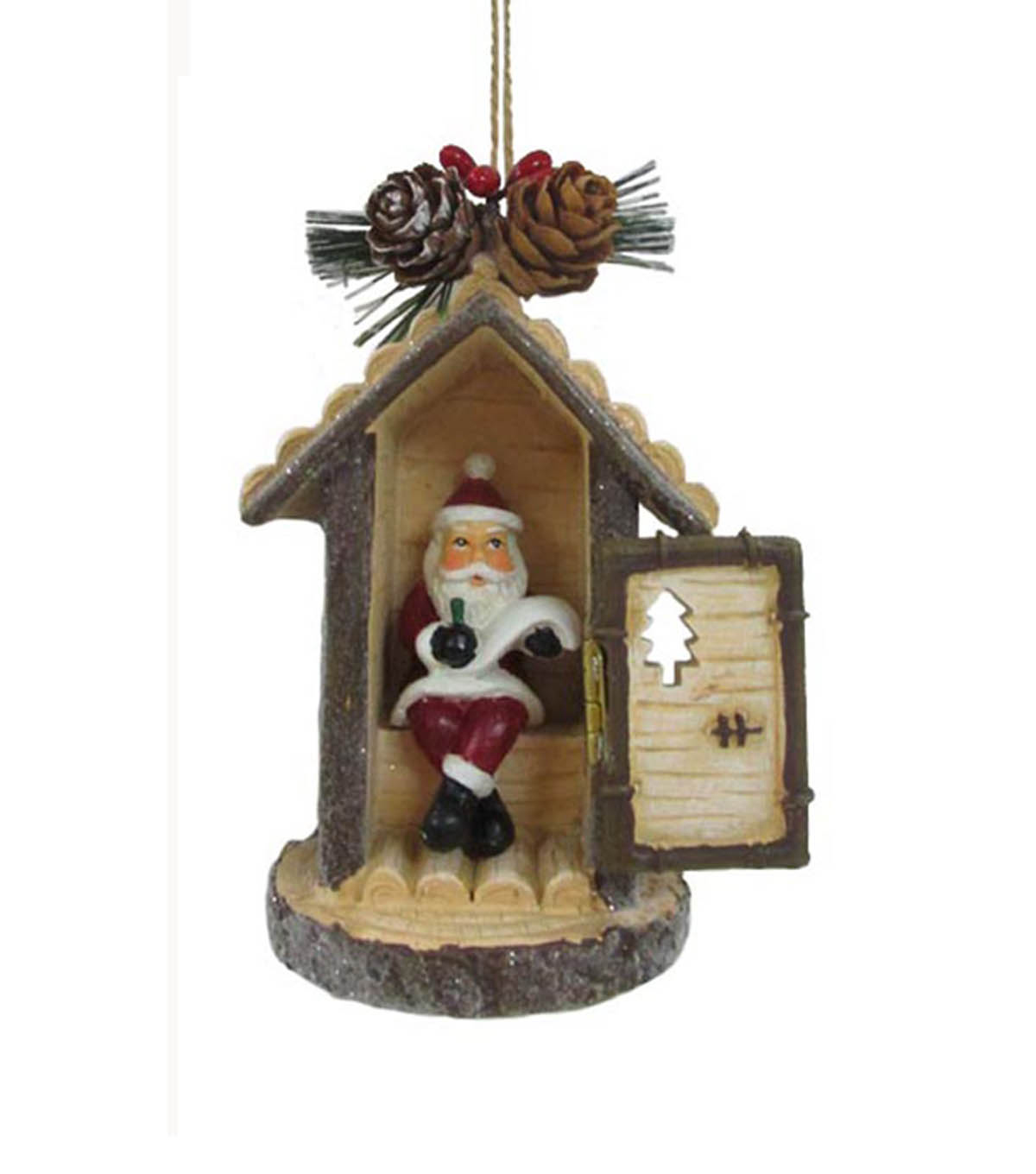 Maker\u0027s Holiday Christmas Woodland Lodge Santa Out House Ornament