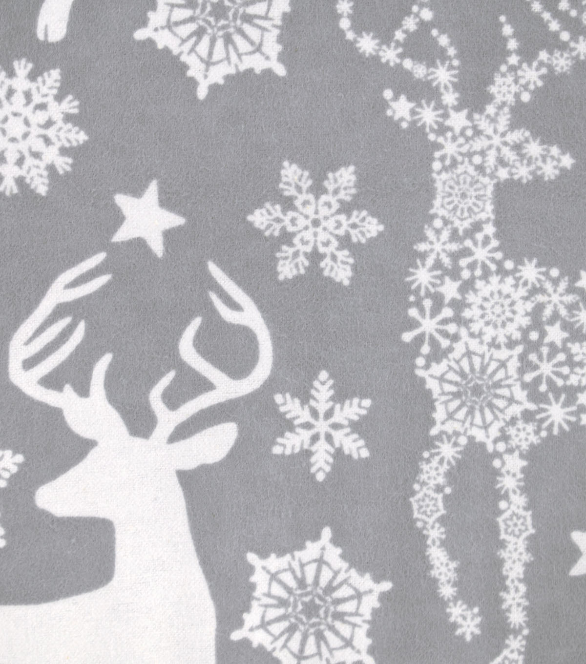 Snuggle Flannel Fabric -Snowflake Deer Gray