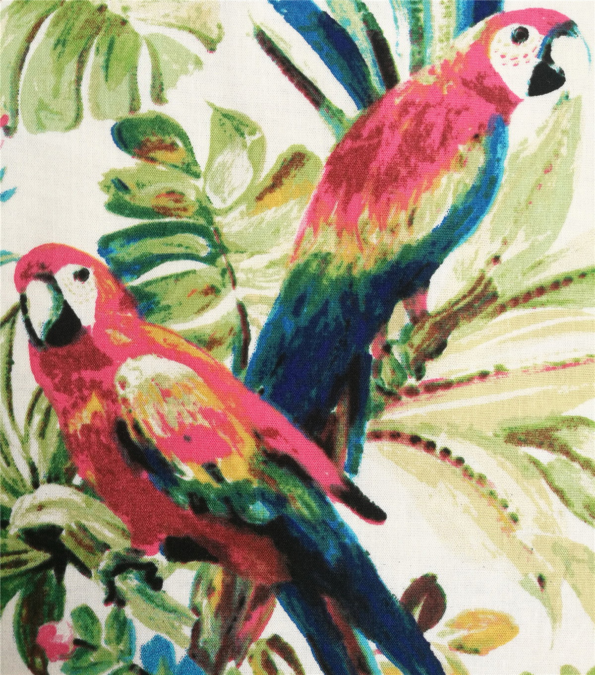 Cotton Shirting Fabric-Tropical Leaves & Parrots on Ivory
