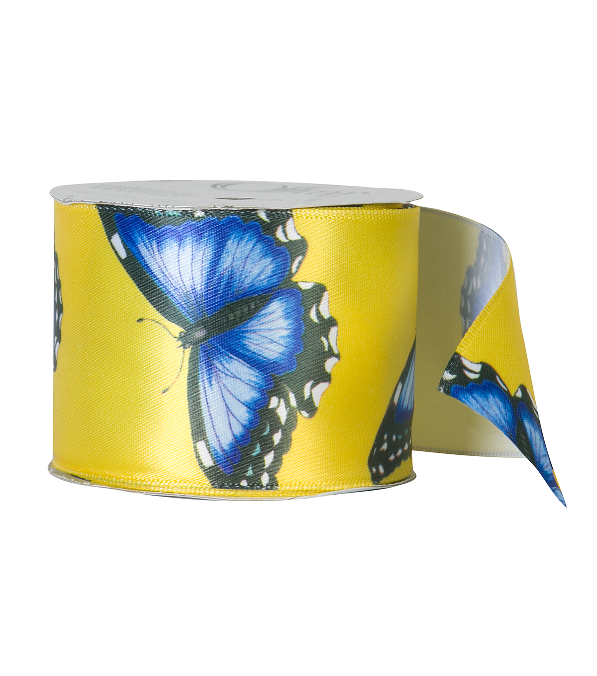 Offray 2.25\u0022x9\u0027 Spring Butterfly Animal Satin Wired Edge Ribbon-Yellow