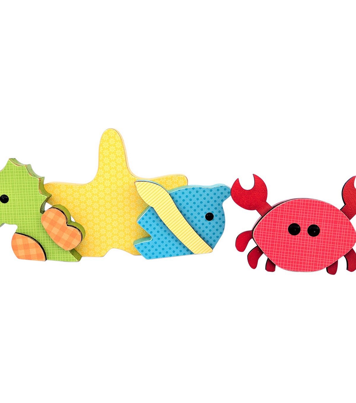 Foundations Decor Wood August Sea Creatures 4/Pk