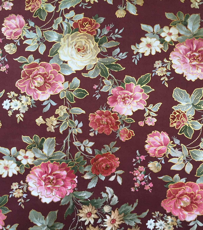 fff34461a35 Scuba Knit Fabric-Foiled Floral on Burgundy