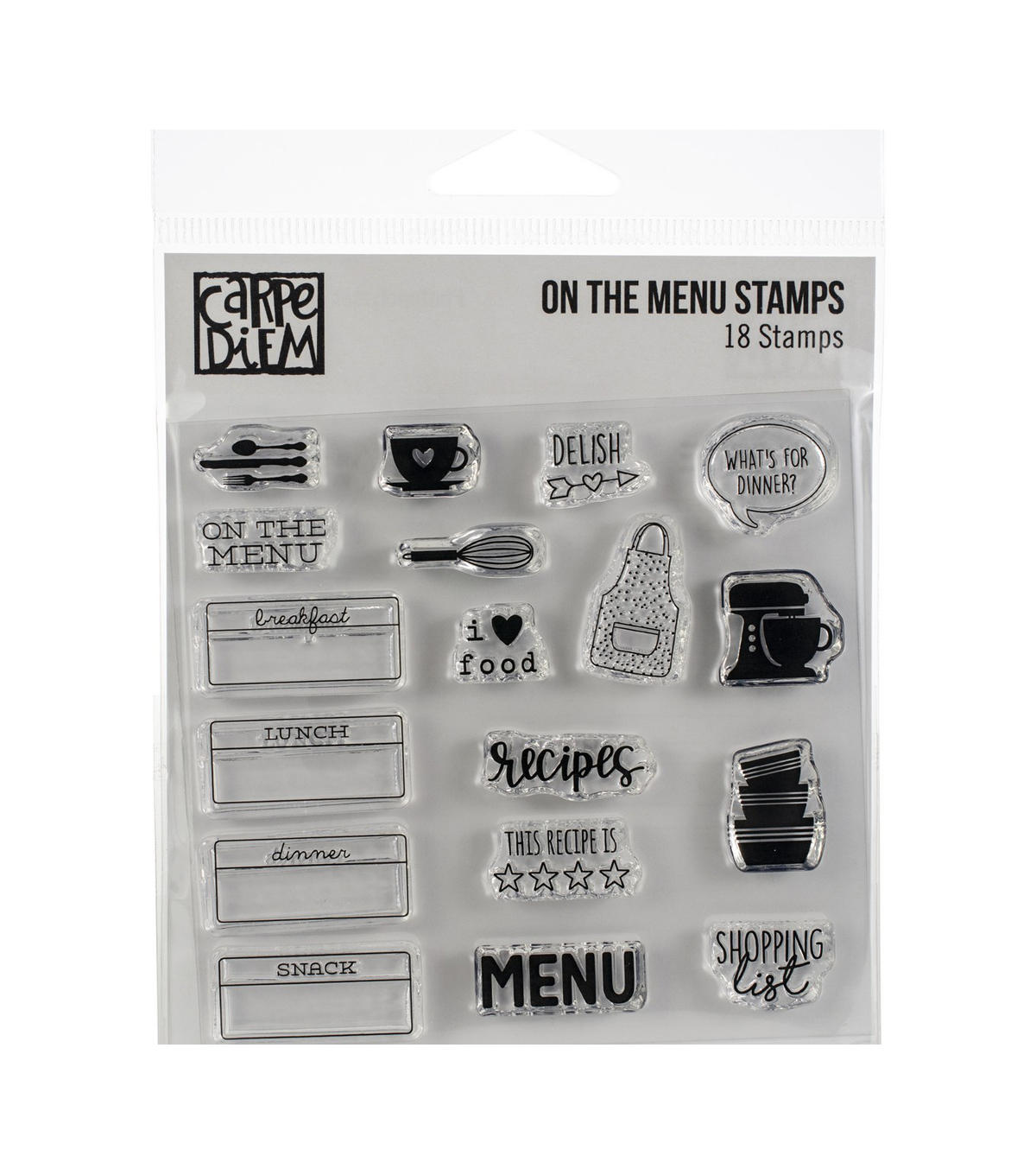 Simple Stories Carpe Diem 18 pk Photopolymer Clear Stamps-On the Menu