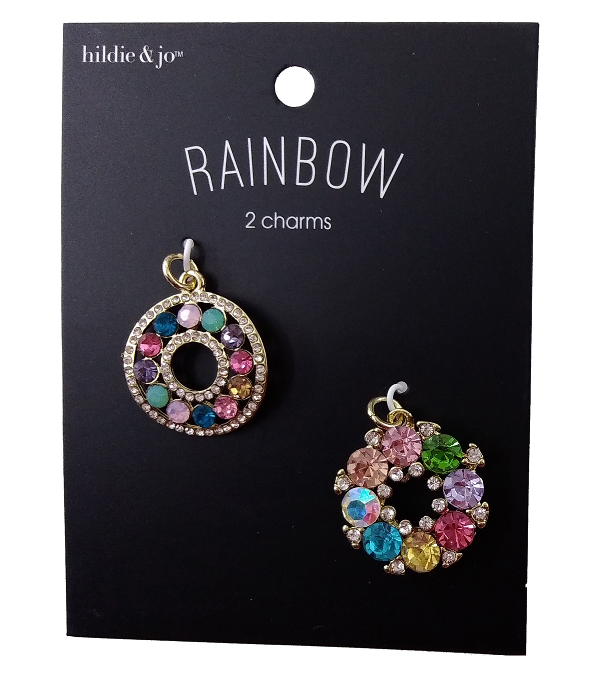 hildie & jo Rainbow Charms-Circle Multi Color Stone Gold 2pc