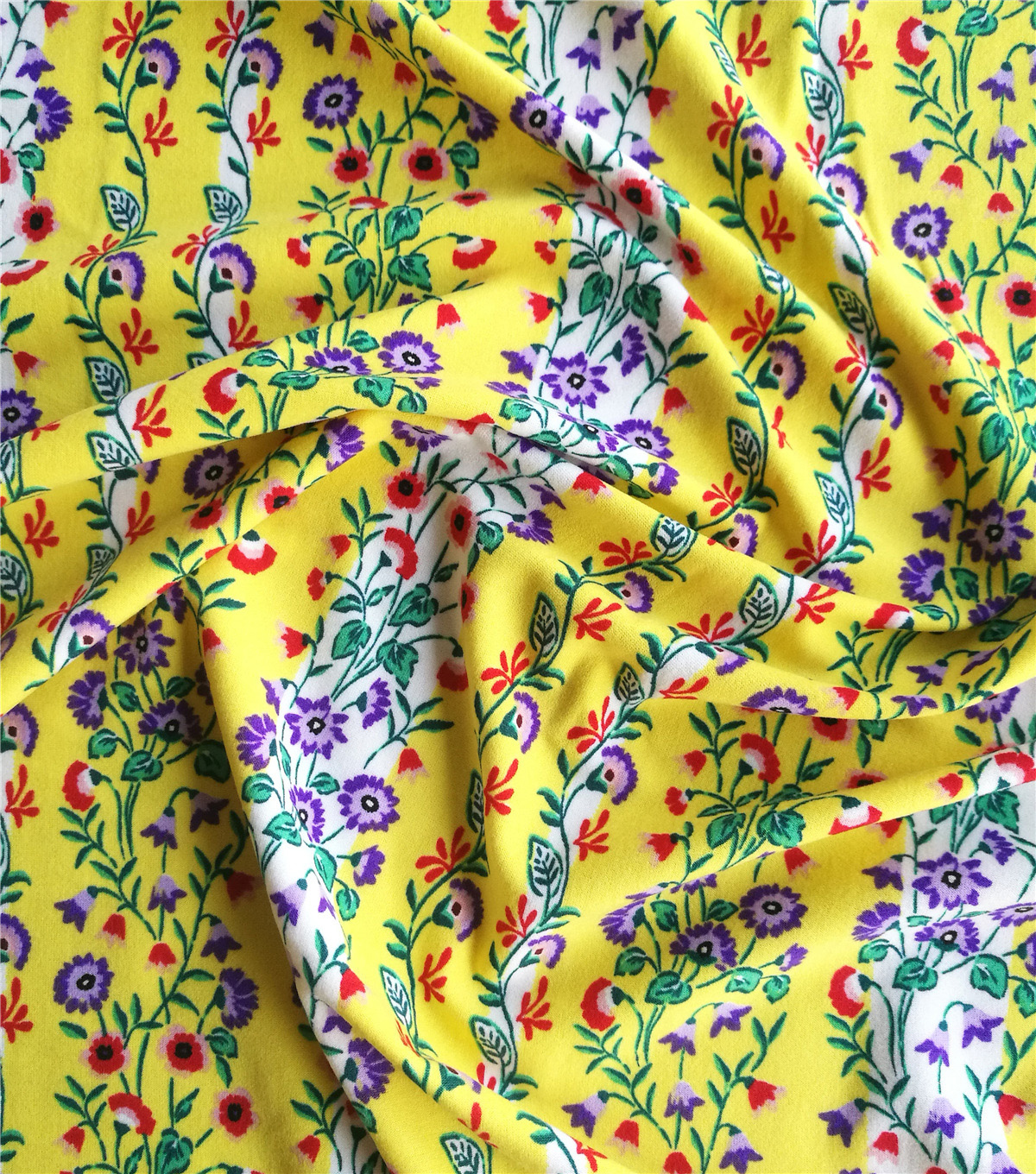 Knit Prints Double Brushed Poly Fabric-Yellow Floral Stripe