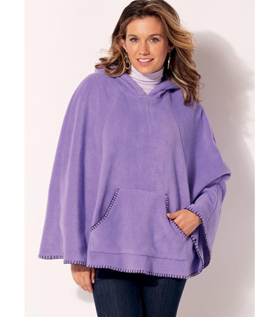 Kwik Sew Pattern K4193 Misses' Lace-Up or Hooded Ponchos-Size XS-XL