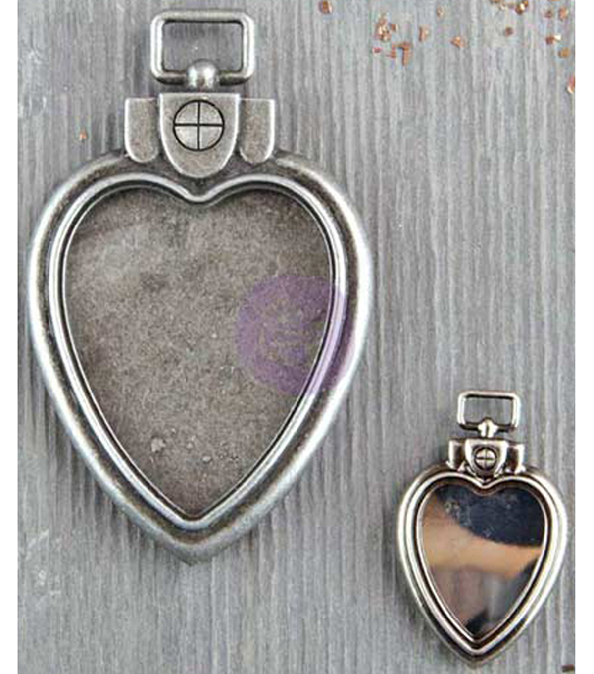 Prima Marketing Finnabair Mechanicals 2 pk Metal Heart Locket Pendants