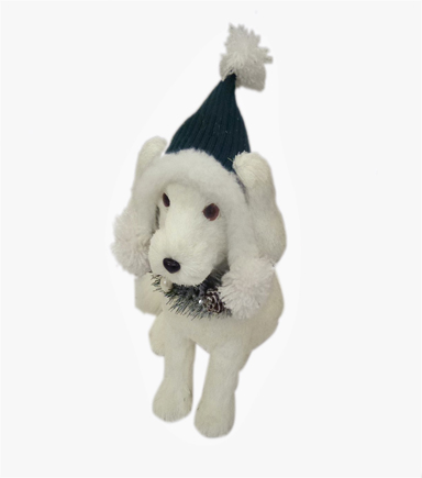 Blooming Holiday 9\u0027\u0027 White Dog with Green Hat