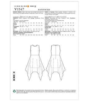 Vogue Pattern V1547 Misses\u0027 Lined Dress with Overlay-Size 6-8-10-12-14