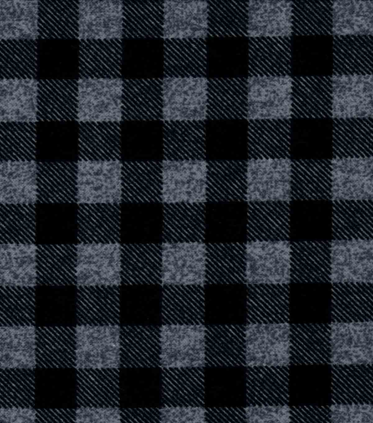 Quilter\u0027s Flannel Fabric -Buffalo Plaid Gray