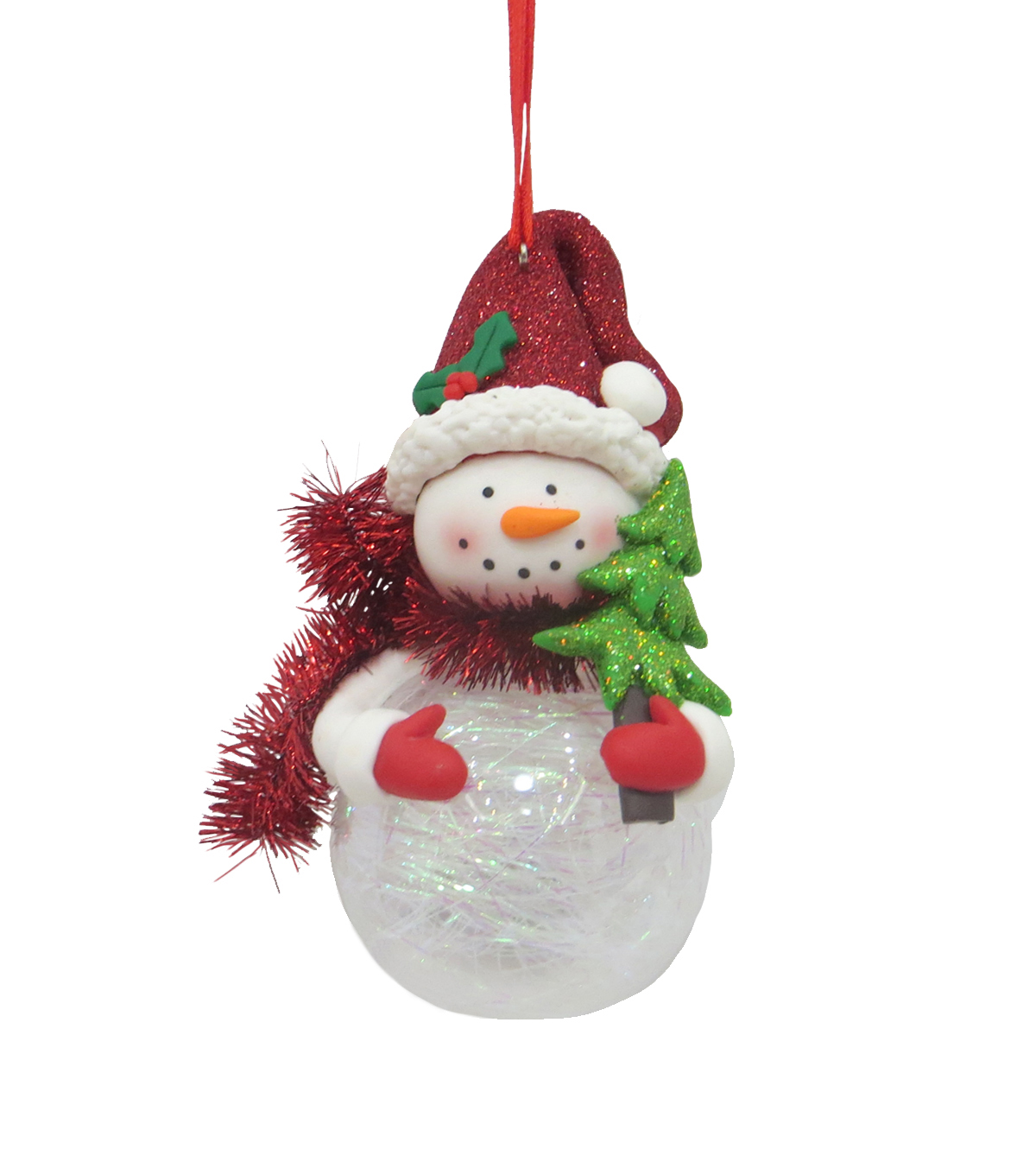 Maker\u0027s Holiday Christmas Whimsy Workshop LED Snowman with Tree Ornament