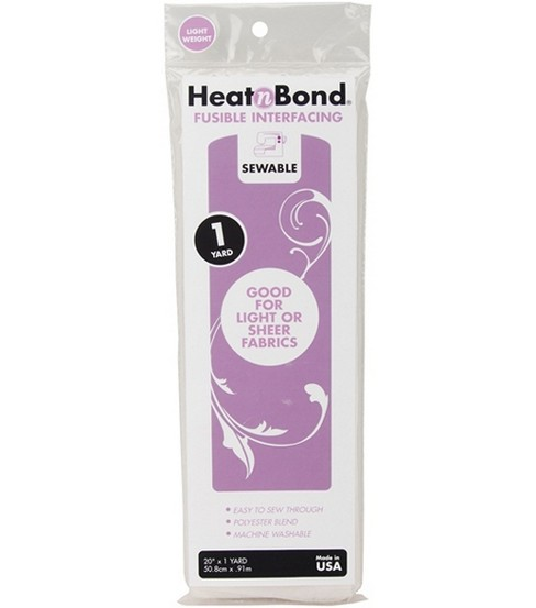 HeatnBond Lightweight Iron-On Fusible Interfacing-20\u0022X36\u0022