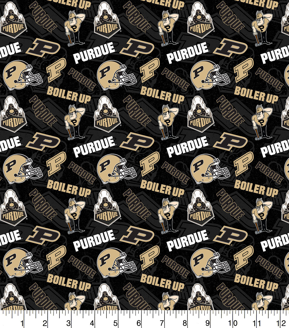 Purdue University Boilermakers Cotton Fabric-Tone on Tone