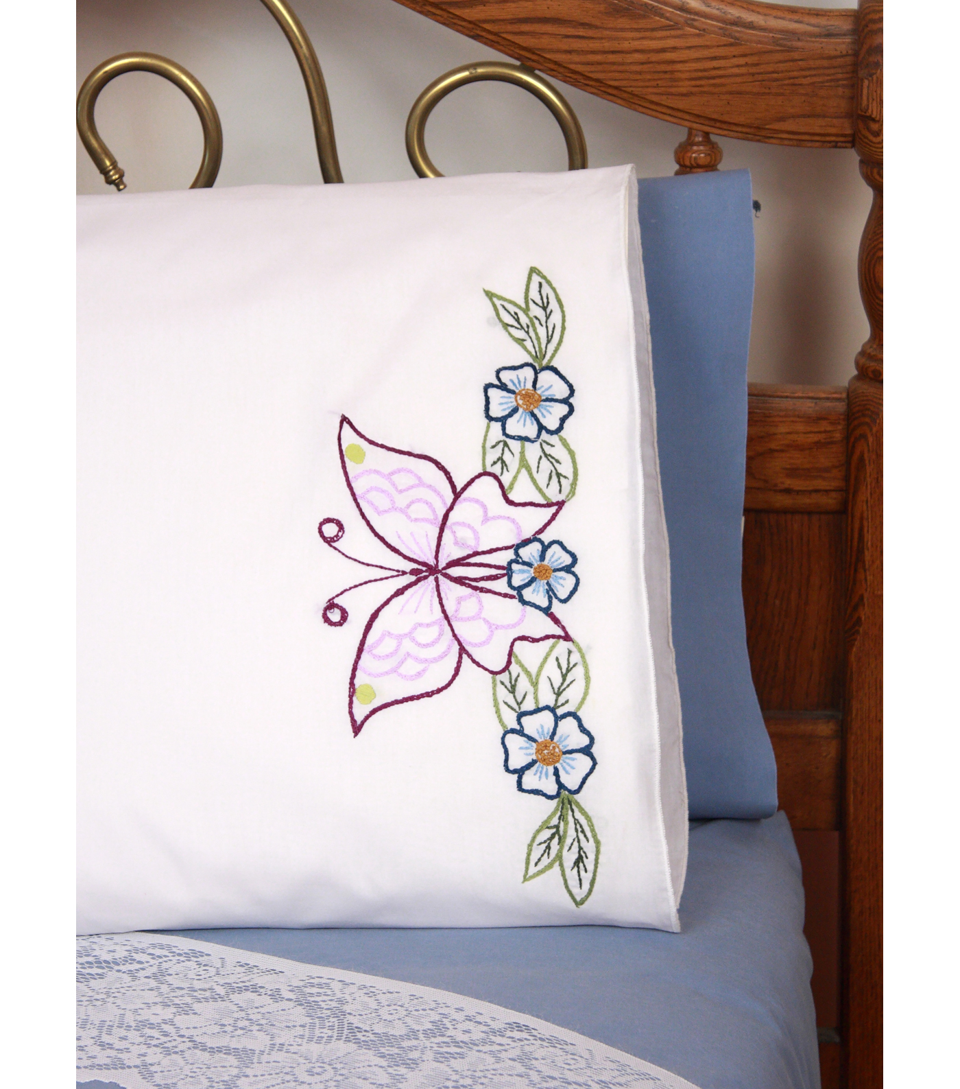 Fairway Needlecraft 2 pk 30\u0027\u0027x20\u0027\u0027 Perle Edge Pillowcase-Floral Motif
