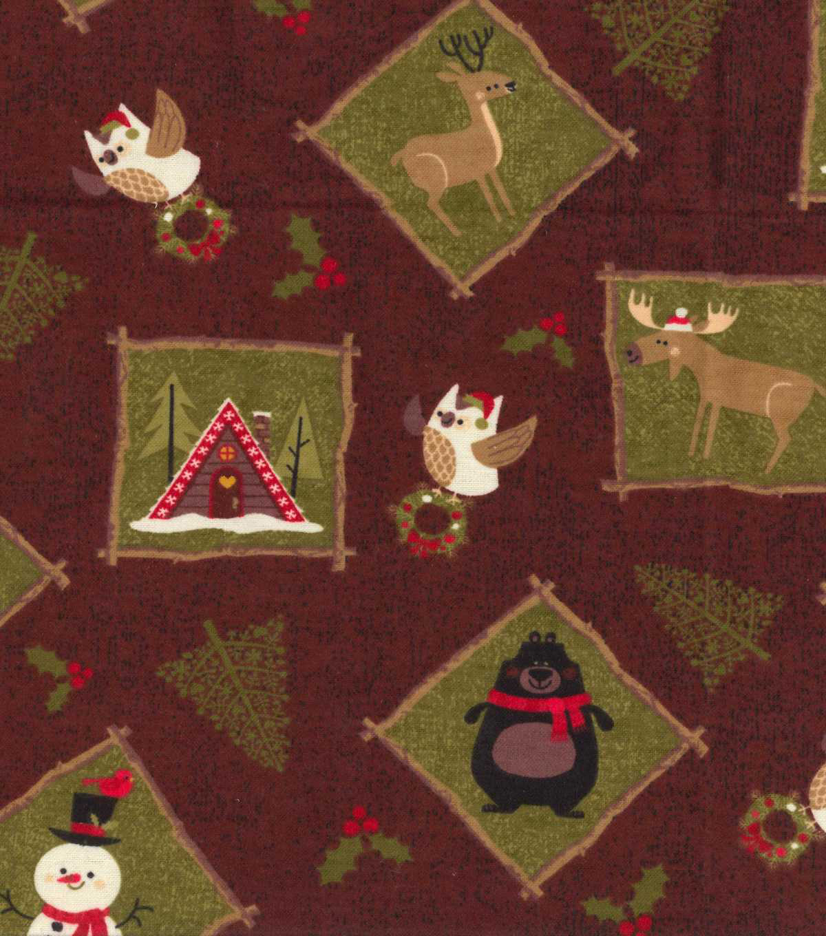 Christmas Fleece Fabric-Northwoods Friends In Blocks Flannel