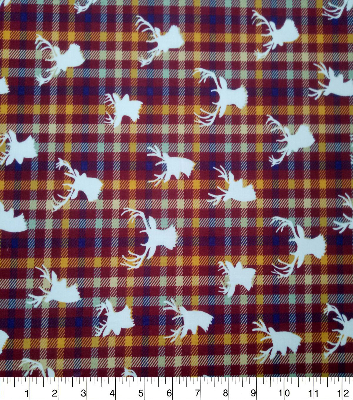 Quilter\u0027s Showcase Cotton Fabric-Tibetan Red Check Stag Head
