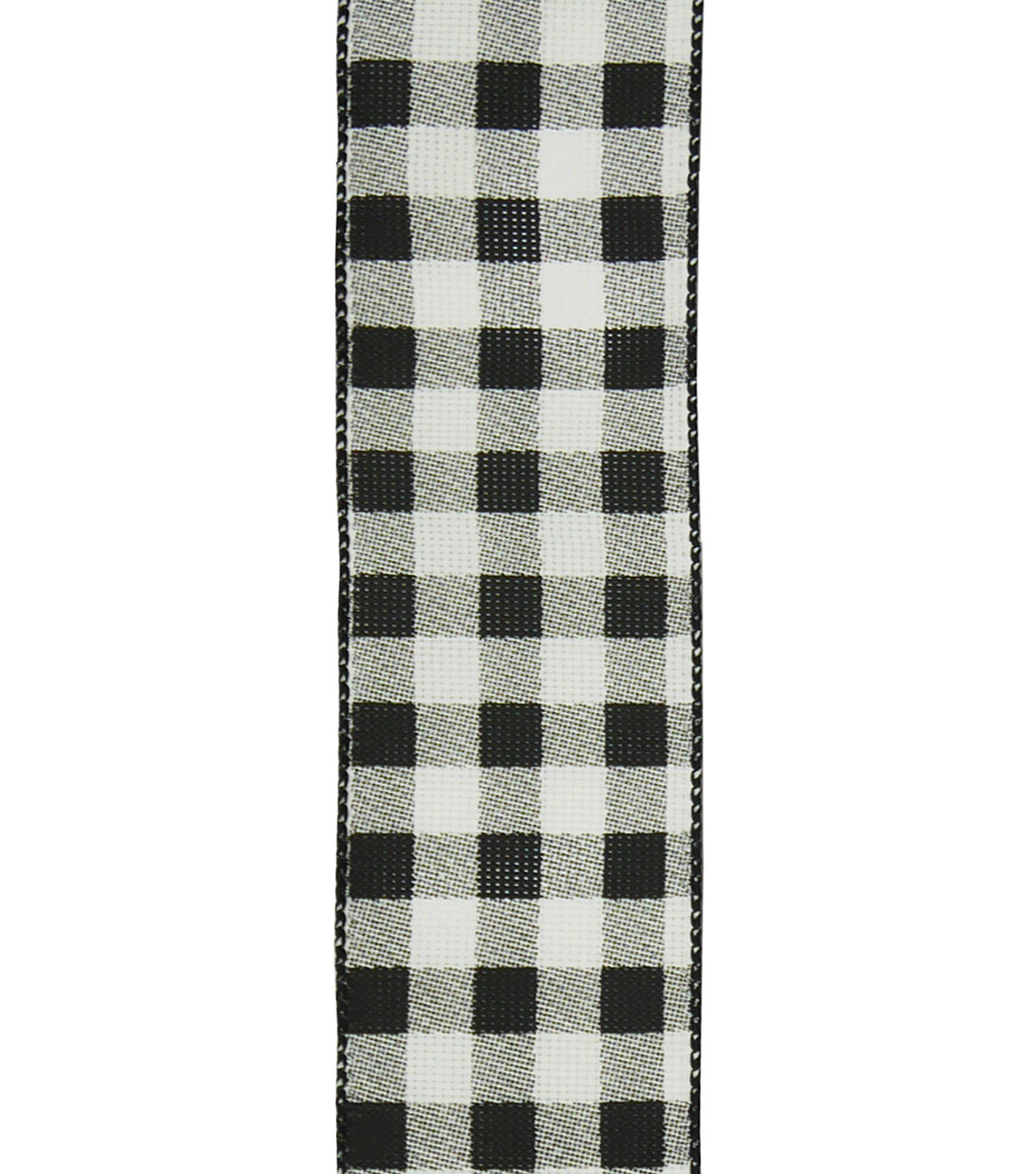 Handmade Holiday Christmas Ribbon 2.5\u0027\u0027x25\u0027-Black & White Buffalo Checks