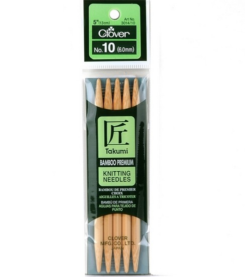 Clover Bamboo Double Point Knitting Needles 5\u0022 Set Of 5-Size 10