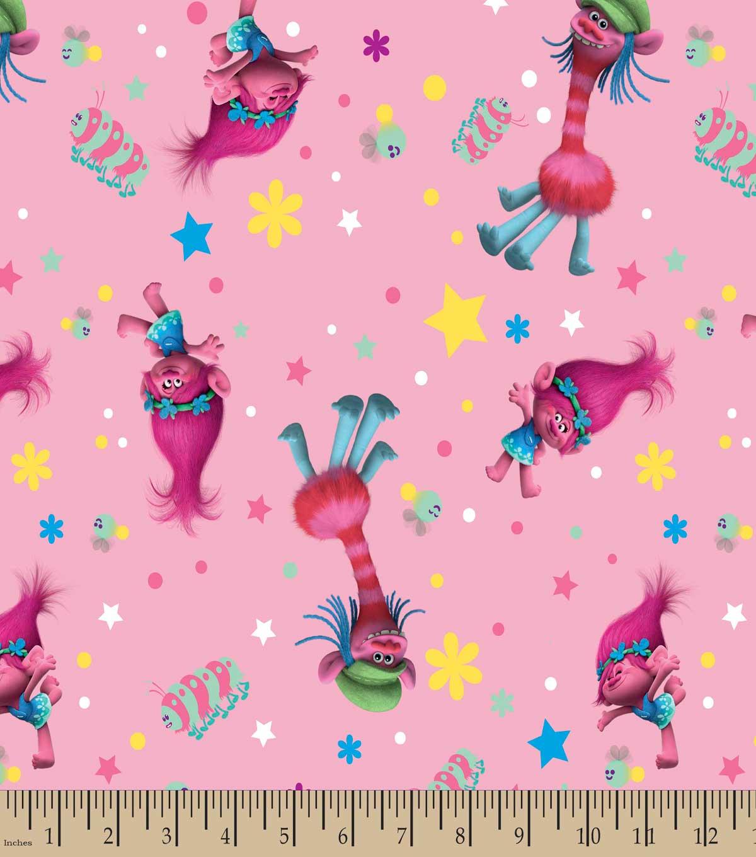 dreamworks trolls print fabric poppy and cooper joann