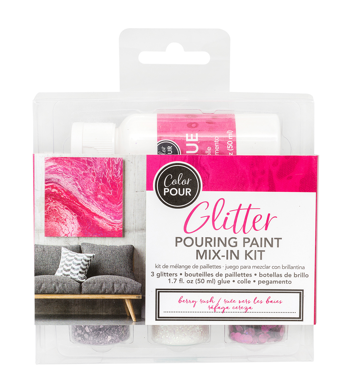 American Crafts Color Pour Glitter Mix-In Kit-Berry Rush