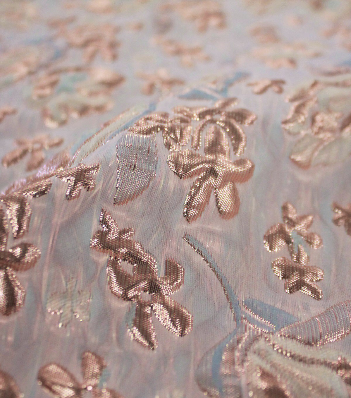Puffed Metallic Jacquard Fabric-Blush Floral