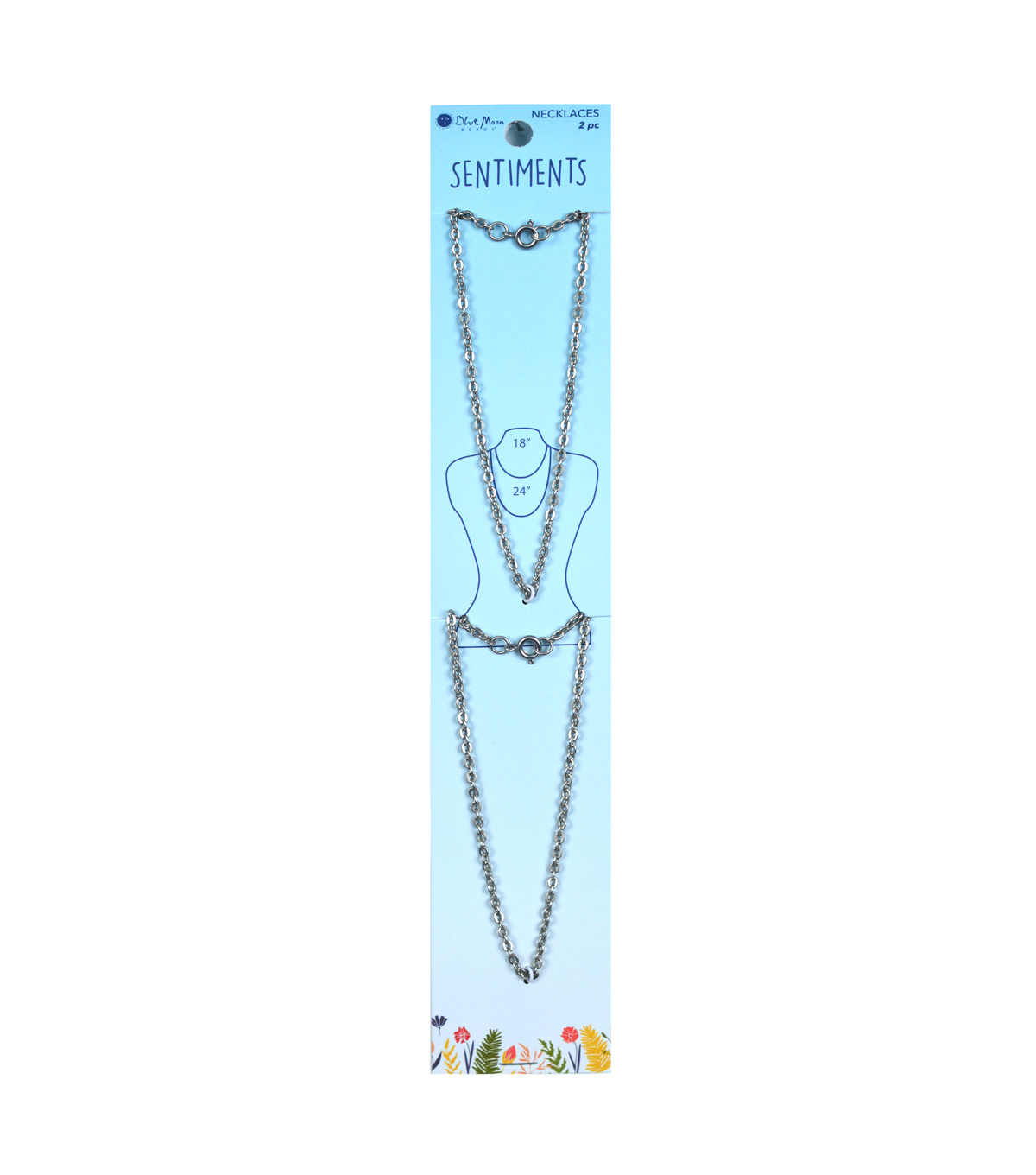 Blue Moon Beads Sentiments 2 pk Necklaces-Silver
