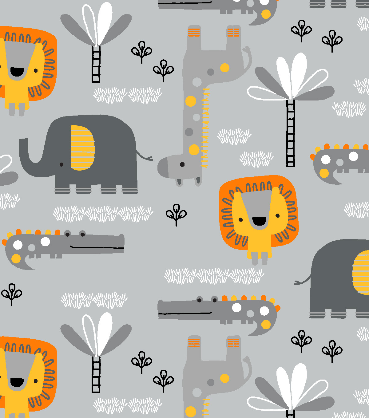 Snuggle Flannel Fabric-Zoo Friends on Gray
