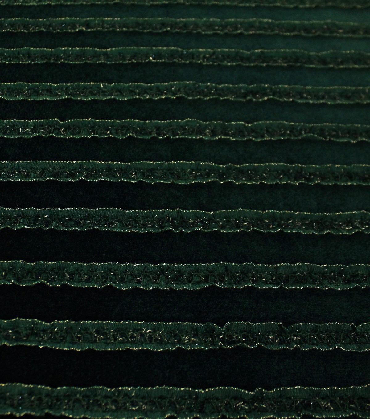 Sew Sweet Ribbon Ruffled Velvet Fabric-Winter Green