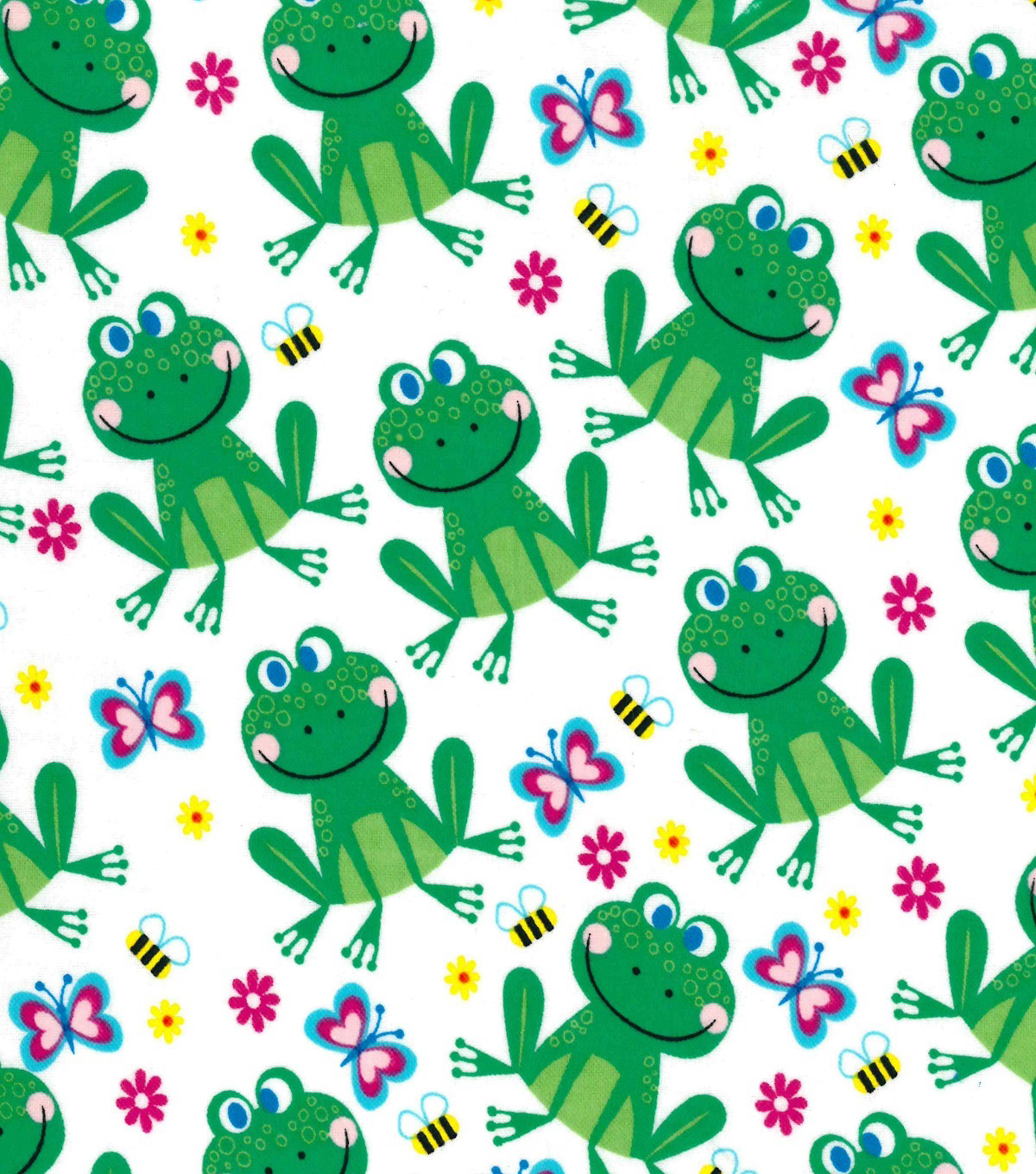 Snuggle Flannel Fabric -Frogs, Bees & Butterflies