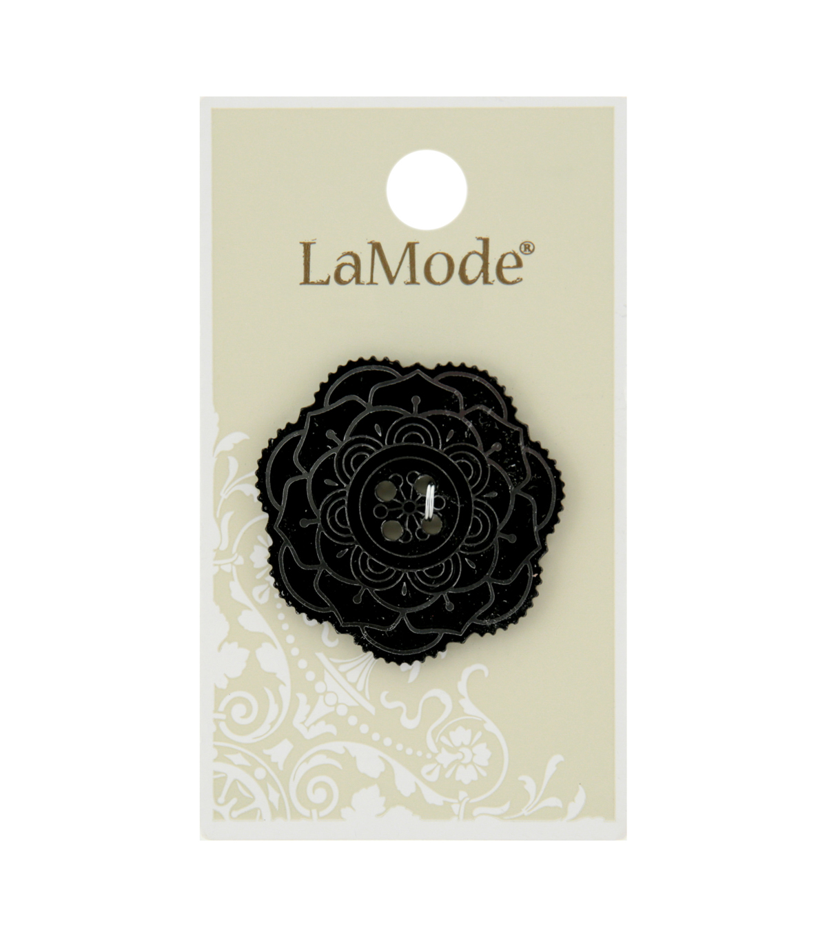 La Mode 34 mm Mirrored Flower 4 Hole Button-Black