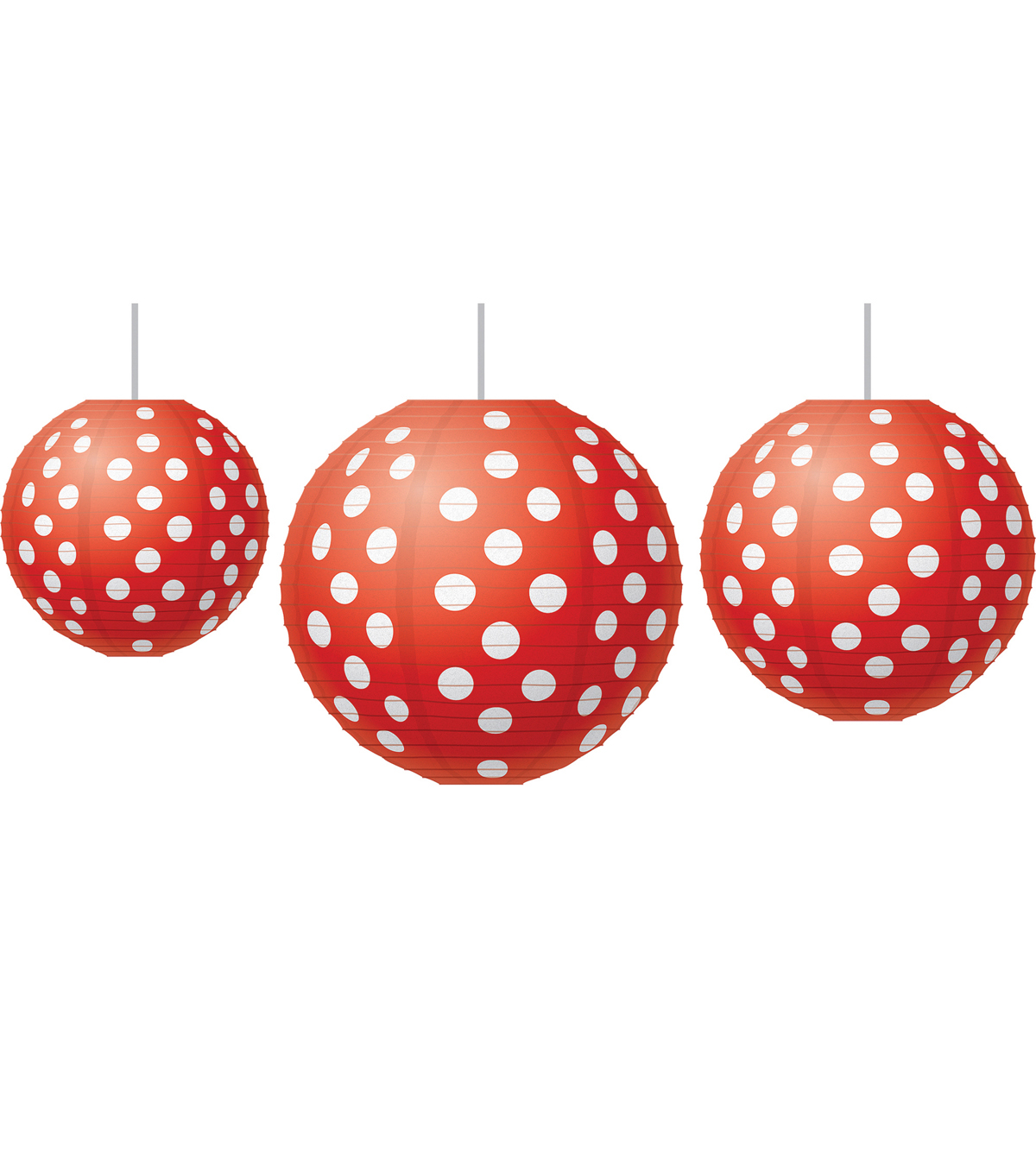 Red Polka Dots Paper Lanterns, 3 Per Set, 3 Sets
