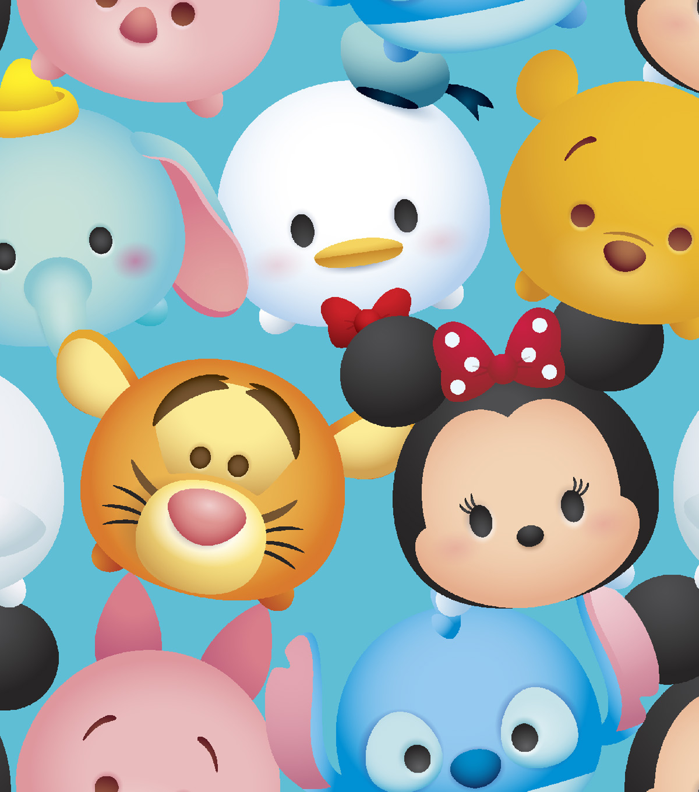 Tsum Tsum Cotton Fabric -Packed Characters