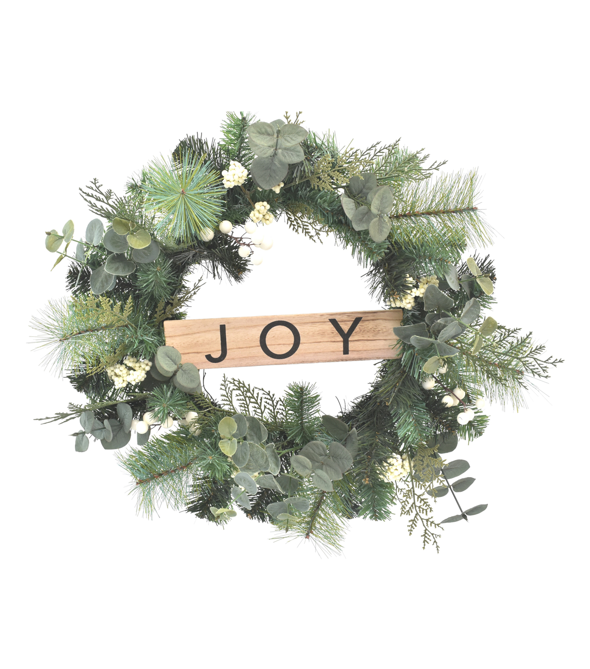 Blooming Holiday 22\u0027\u0027 White Berry & Greenery Wreath with Joy Sign