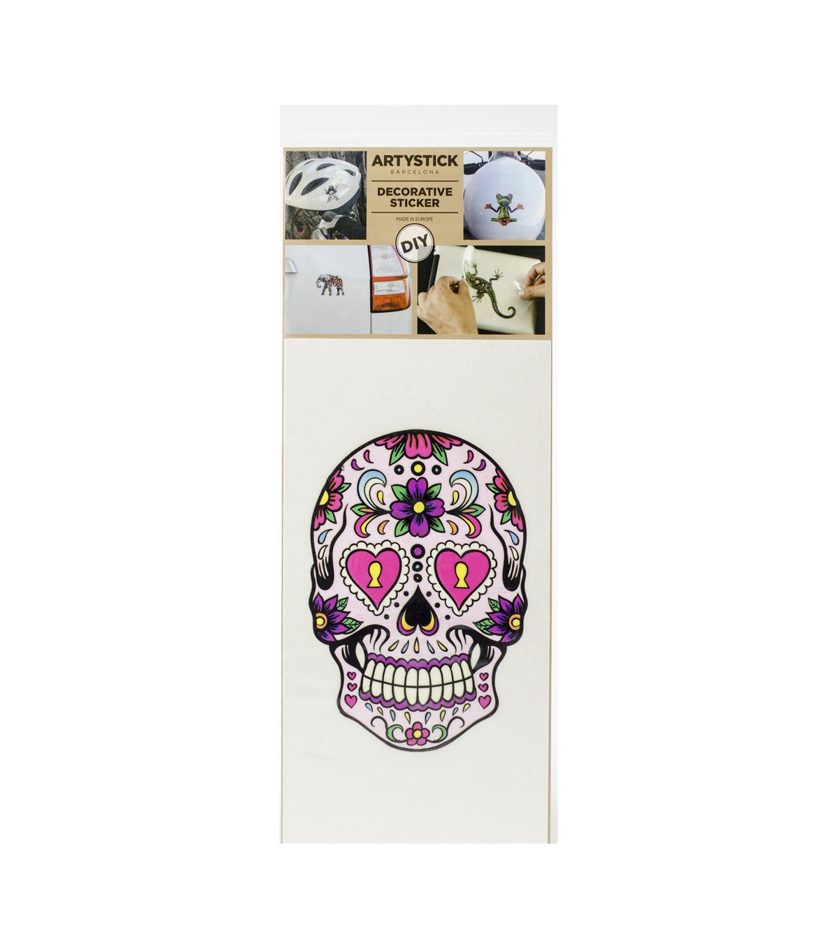 Artystick Decorative Stickers 3.75\u0022X7.75\u0022-Hippie Skull 1