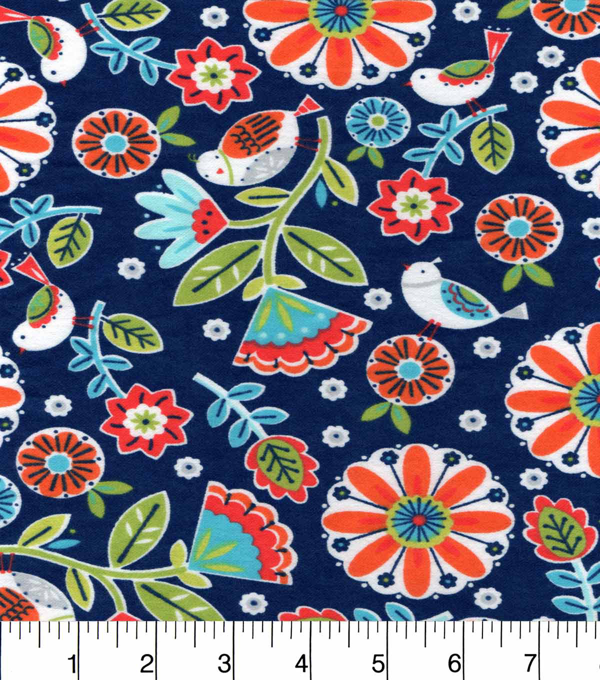 Snuggle Flannel Fabric -Birdies And Flowers Coral Teal