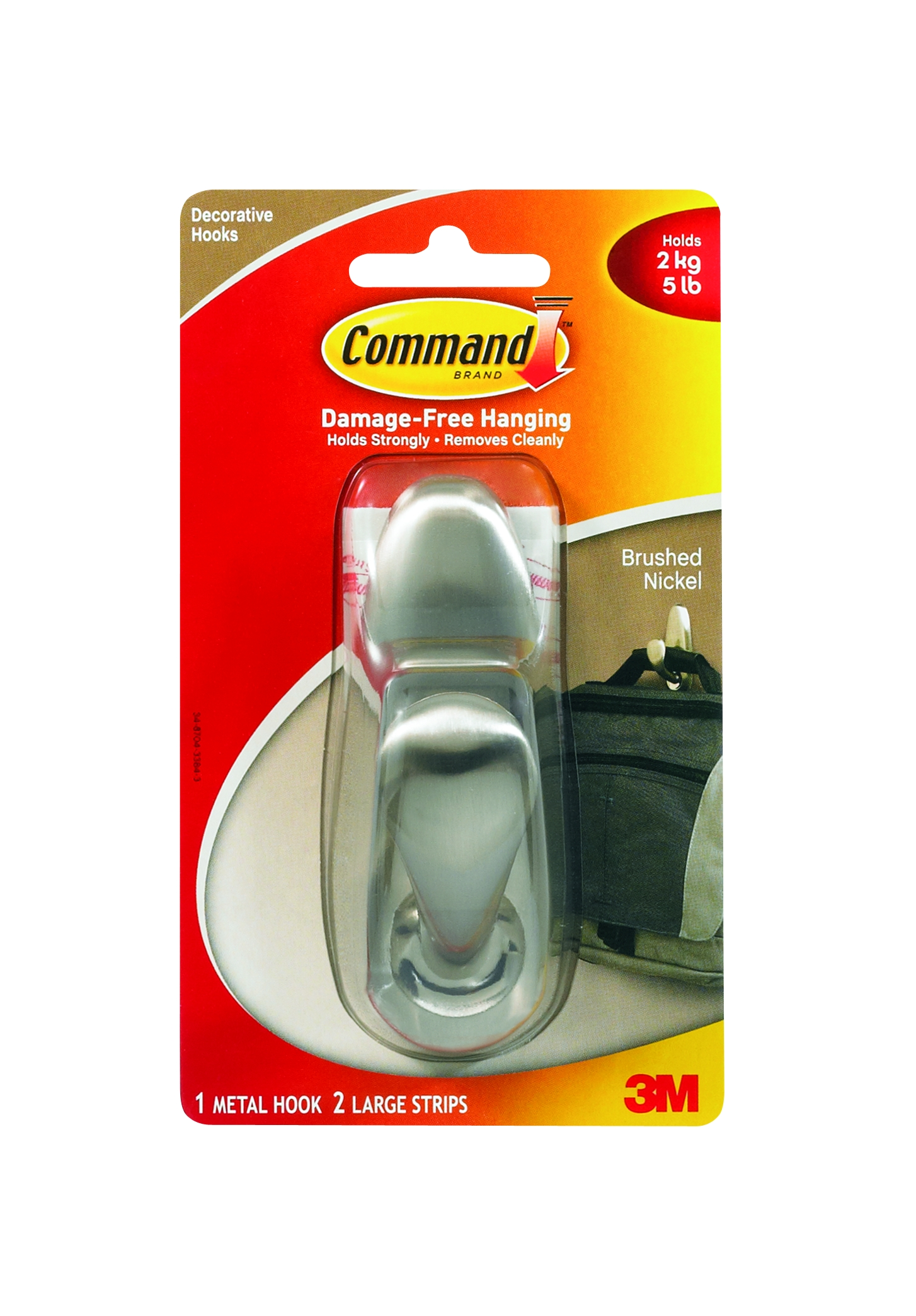 Command Brushed Nickel Large Metal Hook