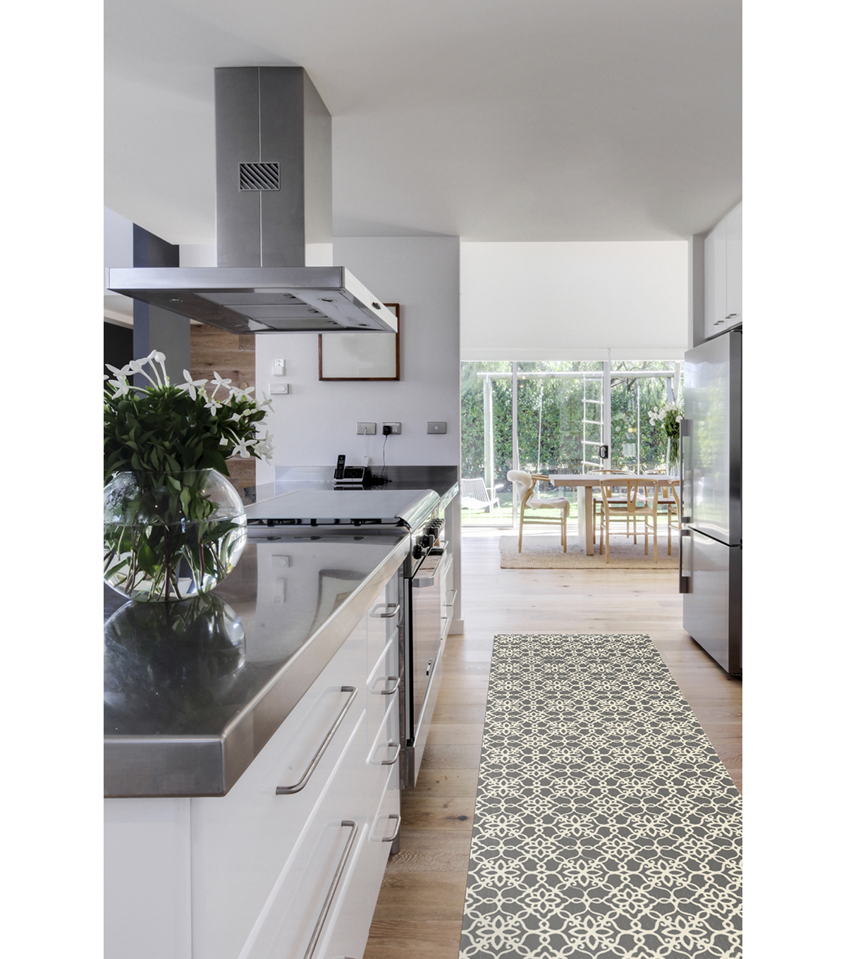 Ruggable 2pc Washable Rug System-Floral Tiles Rich Grey  & White