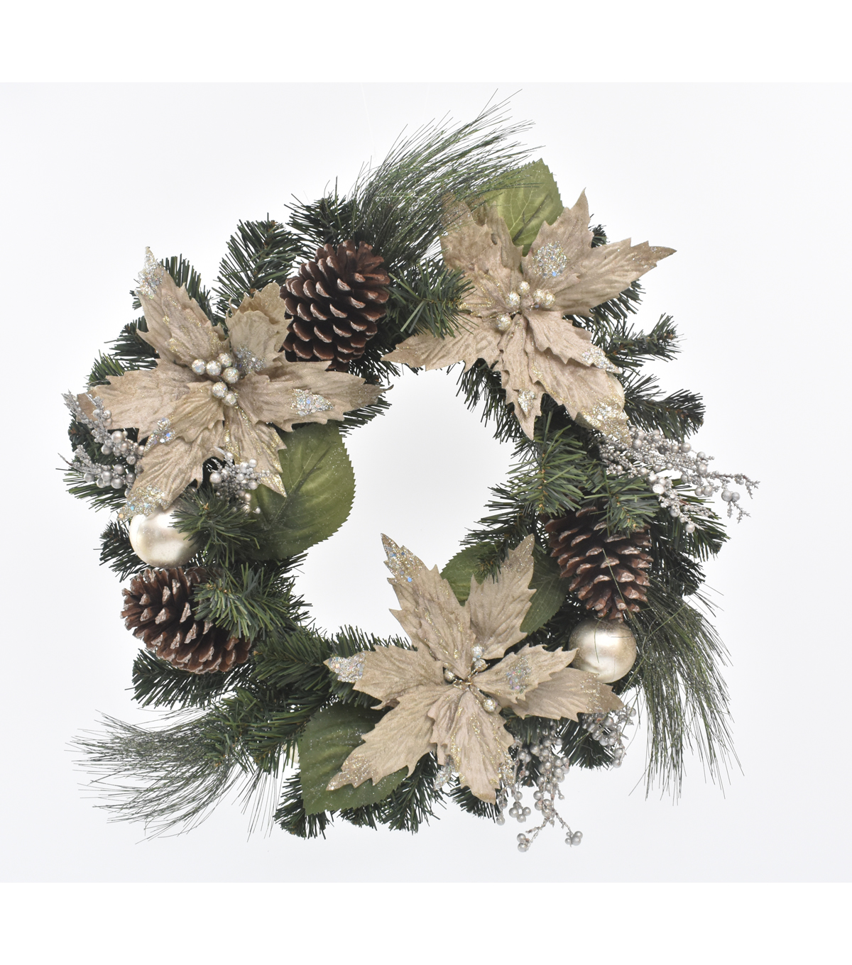 Blooming Holiday Christmas 22\u0027\u0027 Poinsettia & Berry Wreath-Champagne
