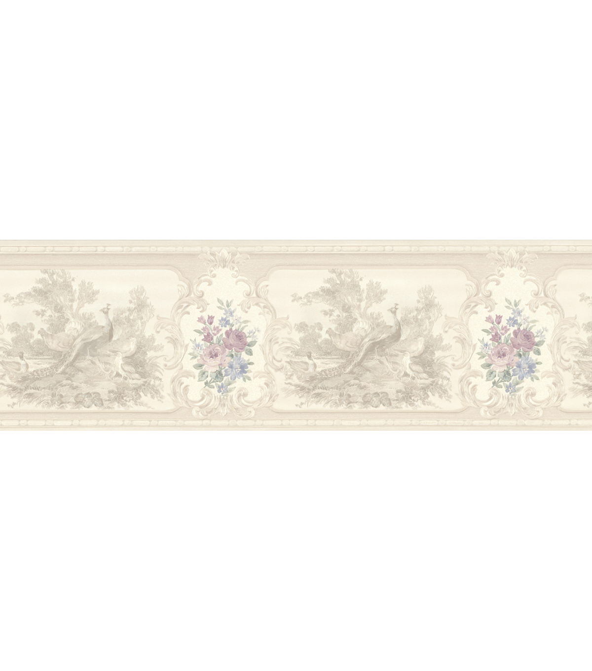 Kris Lavender Aviary Cameo Fleur Wallpaper Border Sample