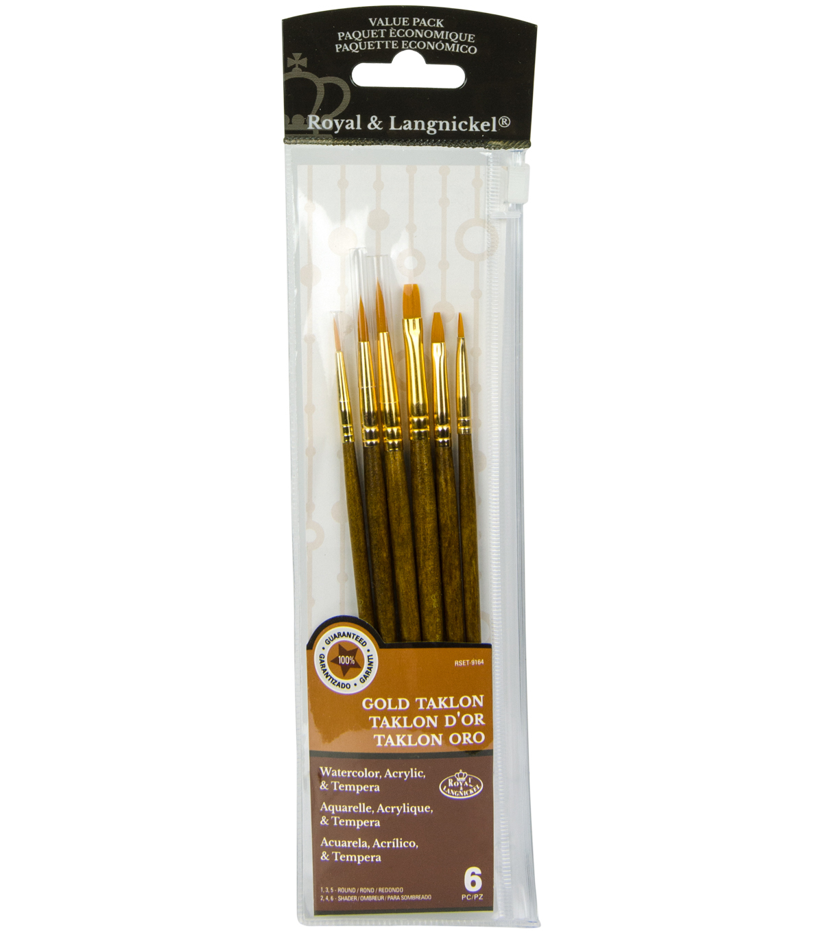 Royal Langnickel 6pc Shader/Round Brush Set-Gold Taklon
