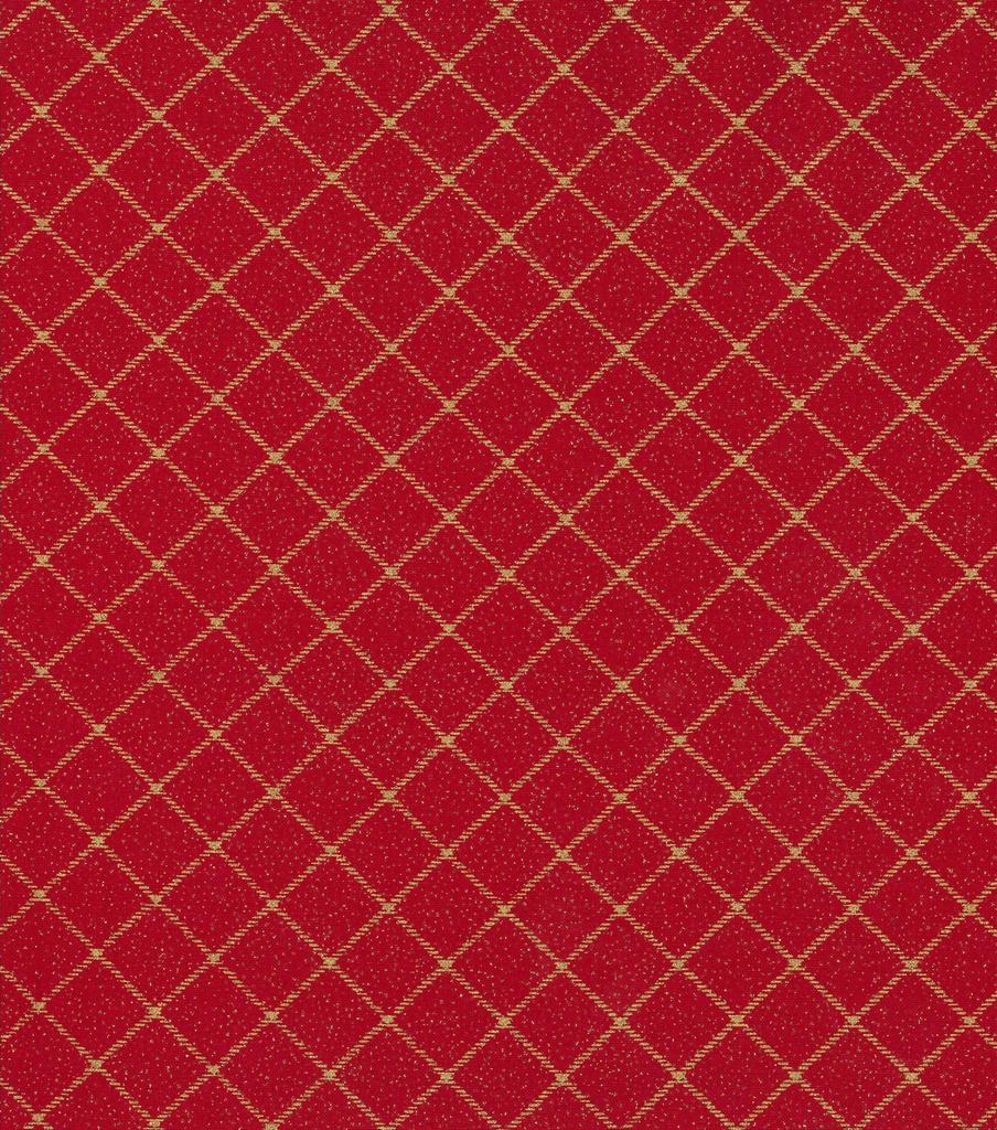 Christmas Cotton Fabric-Diamond Stripes on Red