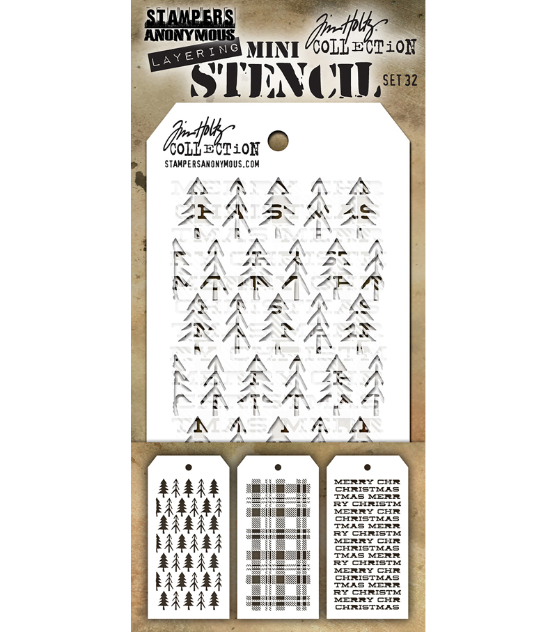 Stampers Anonymous Tim Holtz 3\u0027\u0027x6.25\u0027\u0027 Layering Stencil Set-Set #32