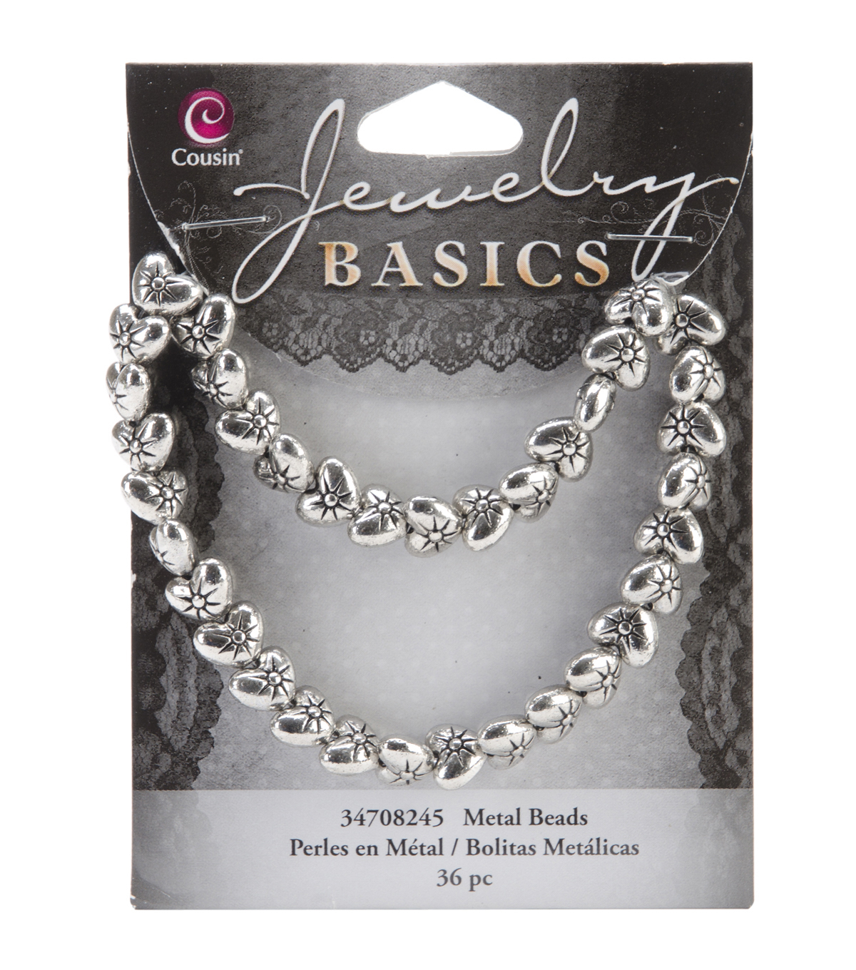 Jewelry Basics Metal Puffed Heart Beads 9mm 36/Pkg-Silver