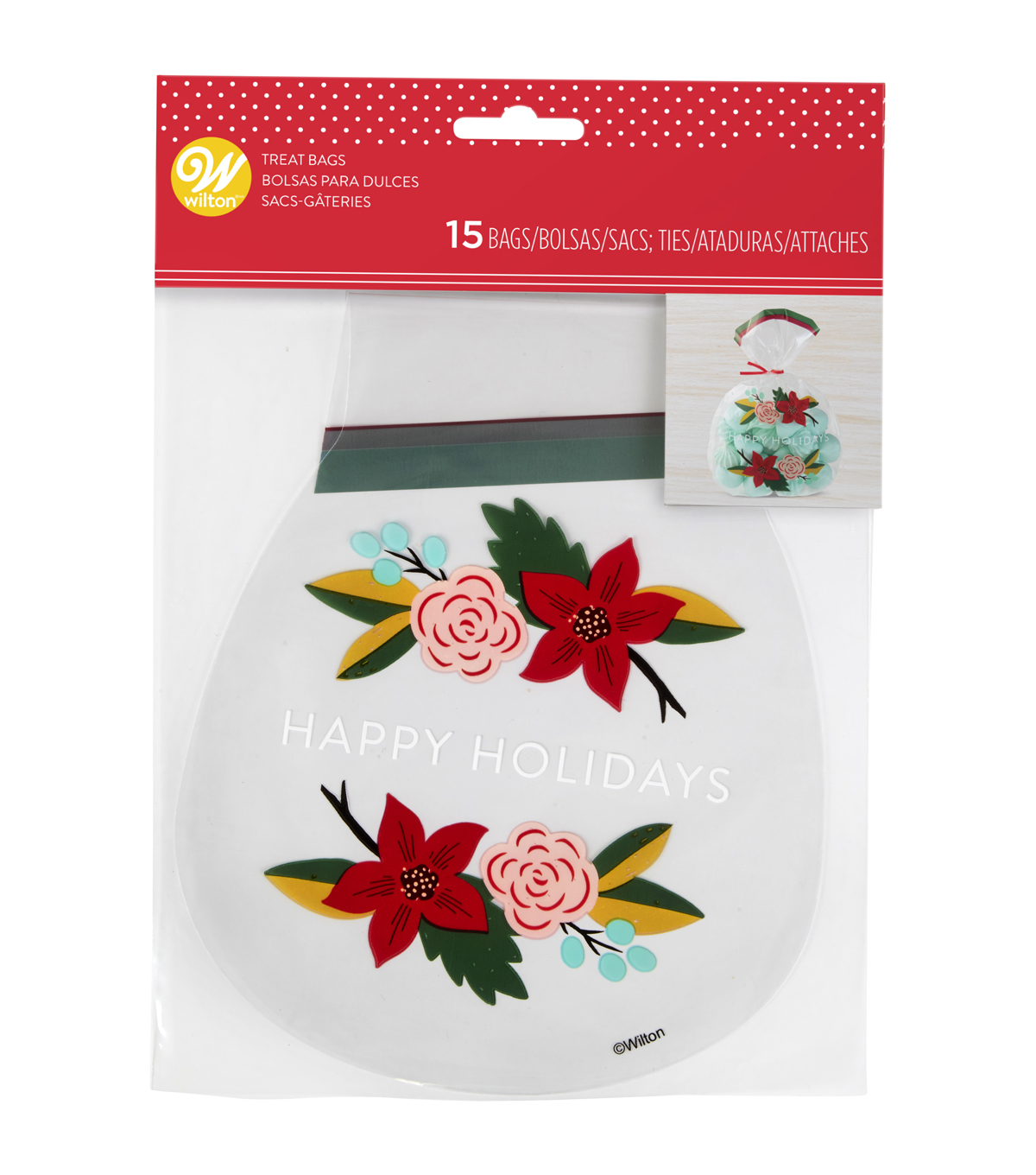 Wilton 15ct Treat Bags-Holiday Floral