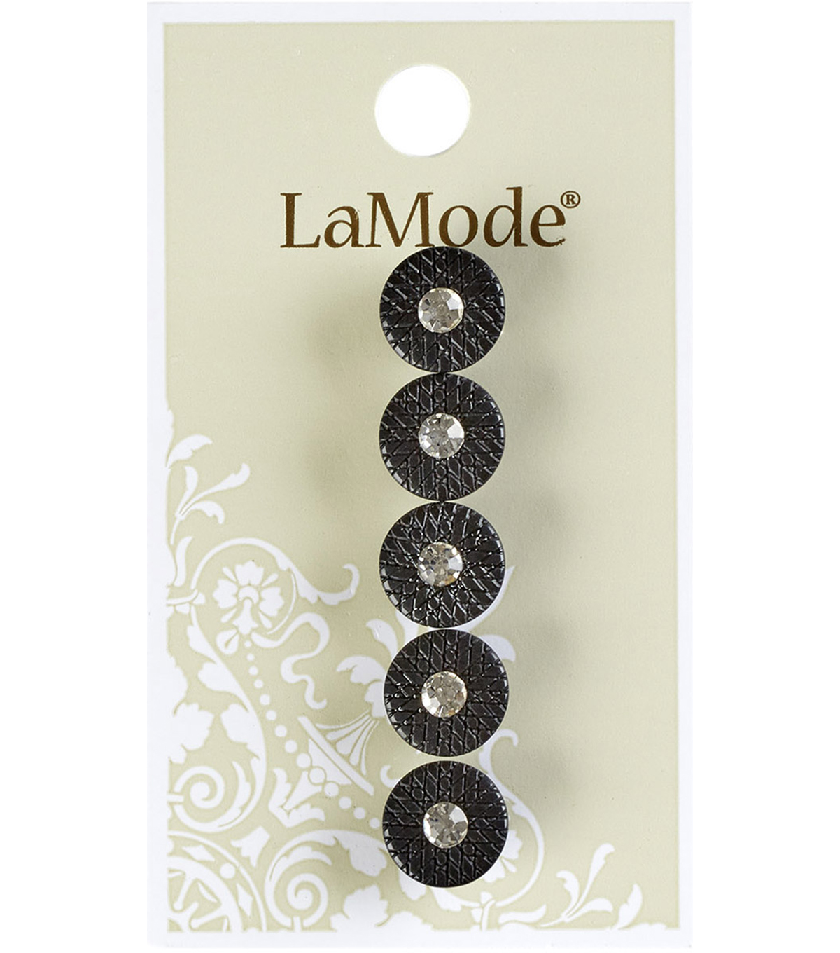 La Mode 5 pk 0.44\u0027\u0027 Black Shank Buttons with Rhinestone