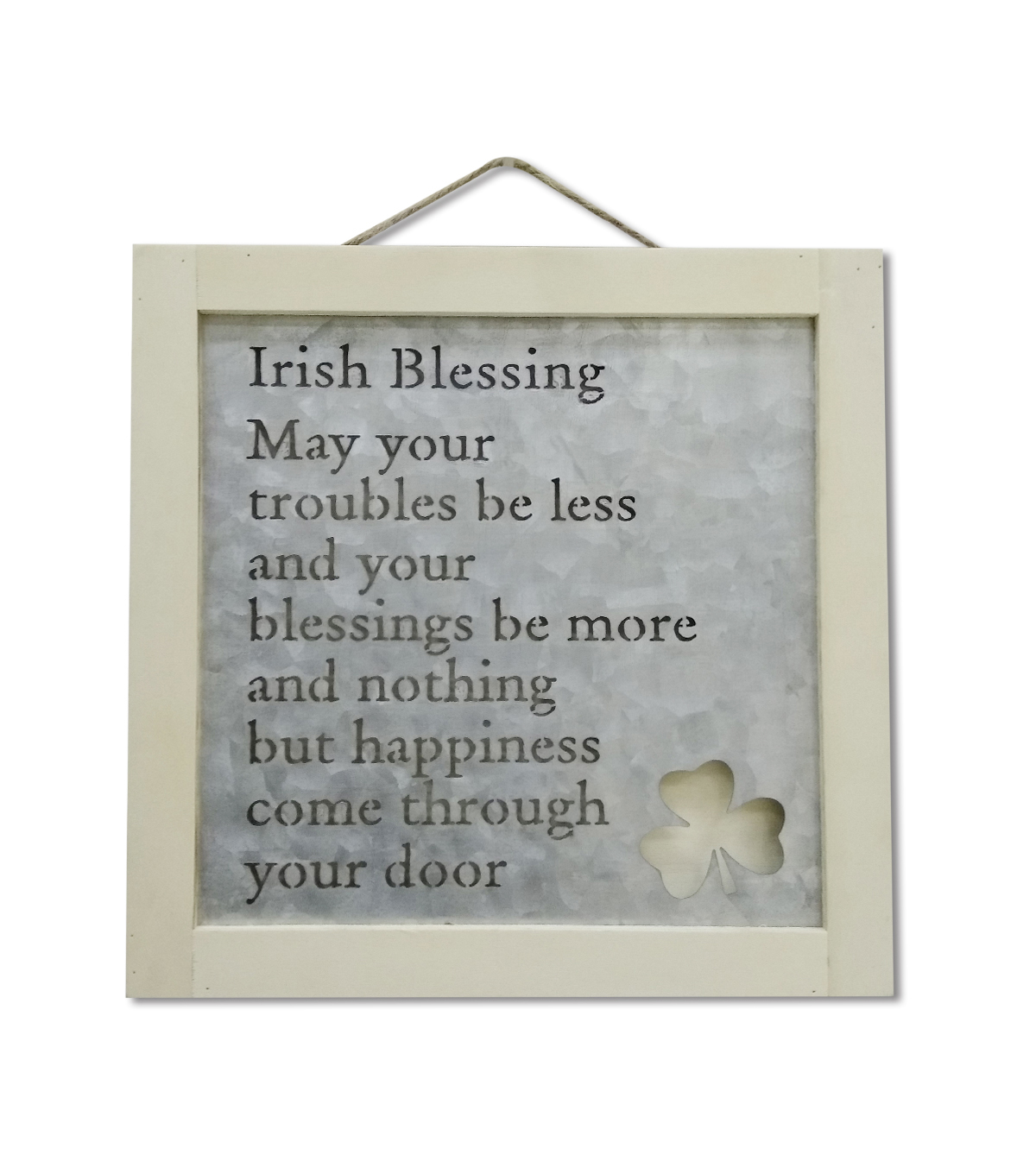 St. Patrick\u0027s Day Craft Wood Frame with Metal-Irish Blessing