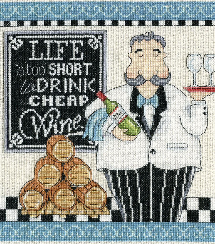 Design Works Crafts 10\u0027\u0027x10\u0027\u0027 Counted Cross Stitch Kit-Cheap Wine