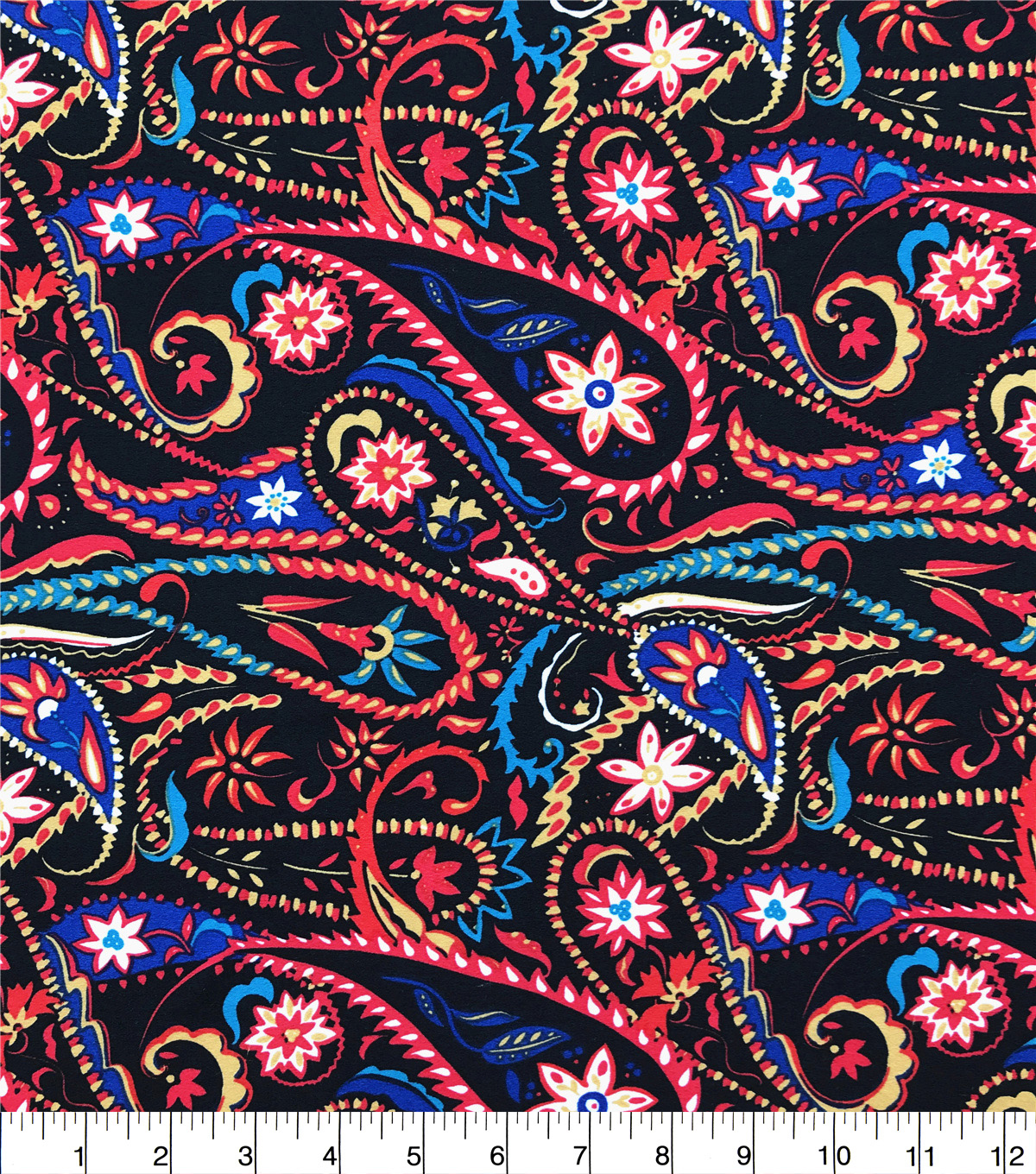 Ember Knit Prints Double Brushed Fabric-Black Warm Floral Paisley