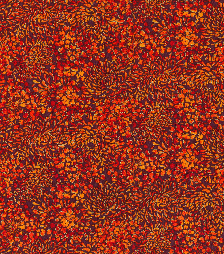 Harvest Cotton Fabric -Festival Mum Burst Metallic