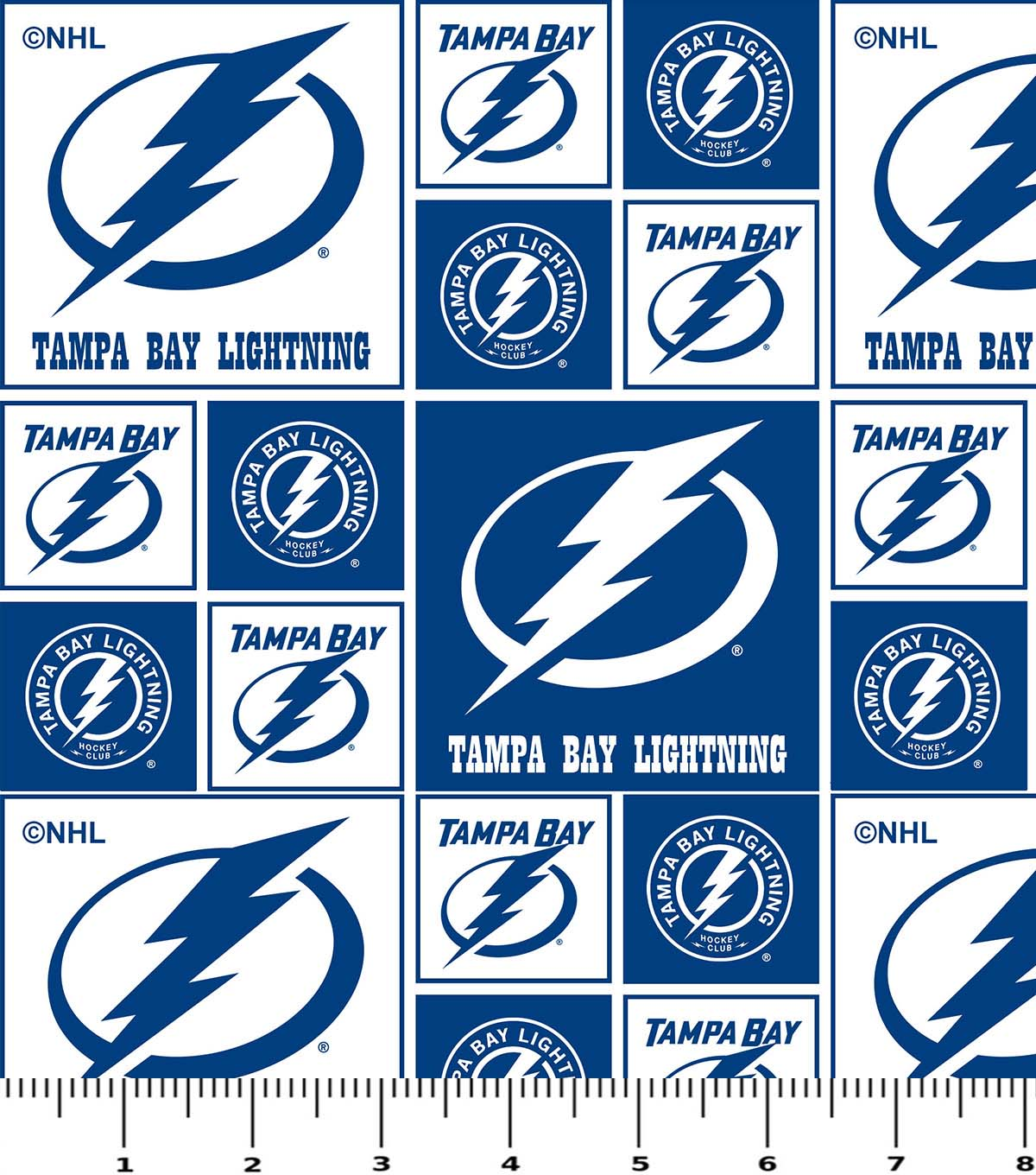 Tampa Bay Lightning Cotton Fabric 43\u0027\u0027-Block